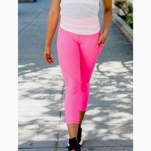Zyia Light N Tight Pocket Capri Leggings Bright Pink 20 NWOT